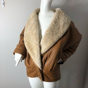 Cognac Brown Leather Shearling Oversized Collar